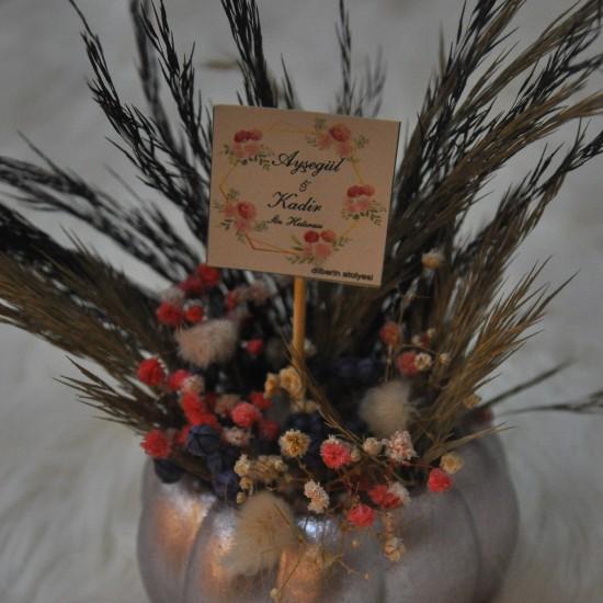 Rustik Bal Kabağı kuru Çiçek Gri